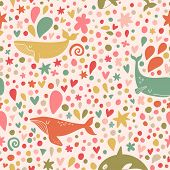 stock photo of whale-tail  - Stunning seamless pattern with stylish whales in bright colors - JPG