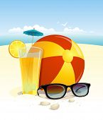 picture of beach-ball  - Beach background with sun glasses - JPG