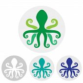 pic of devilfish  - Stylized silhouette of an octopus on  light background - JPG