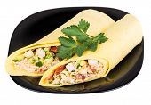 stock photo of shawarma  - Two Shawarma with chicken in black plate isolated on white background - JPG