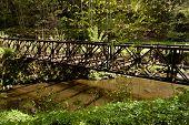 image of old bridge  - Old rusty abandoned steel bridge over the river - JPG