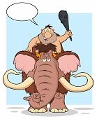picture of caveman  - Funny Caveman Over Mammoth - JPG