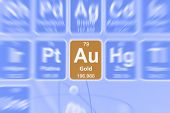 stock photo of periodic table elements  - Symbol of gold on the periodic table of elements - JPG