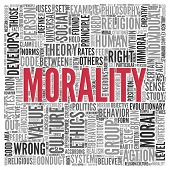 stock photo of morals  - Close up Red MORALITY Text at the Center of Word Tag Cloud on White Background - JPG