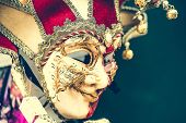 image of venetian carnival  - amazing carnival masks for traditional Venetian carnival fest - JPG