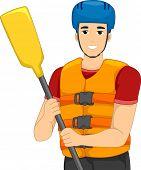 image of raft  - Illustration of a Man Wearing Whitewater Rafting Gear - JPG