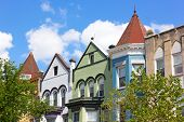 picture of row houses  - Colorful row houses in Washington DC USA - JPG