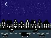 Suburban street at night