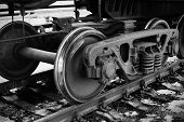foto of train-wheel  - Old train wheel on a old track - JPG