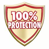 stock photo of precaution  - 100 Percent Protection words in 3d letters on a gold shield to illustrate safety and security from danger through prevention - JPG