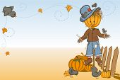 stock photo of scarecrow  - Thanksgiving or Halloween greeting card  - JPG