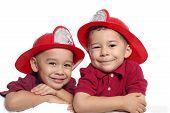 Boys With Fireman Hats