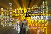 stock photo of transfer  - Background concept wordcloud illustration of hypertext transfer protocol HTTP glowing light - JPG