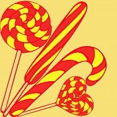 stock photo of lollipops  - a variety of striped lollipops in retro style - JPG