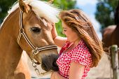 picture of pony  - Woman petting horse on pony farm - JPG