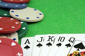 image of combinations  - The winning combination royal flush in poker background - JPG