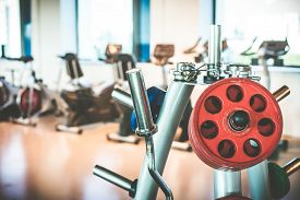 foto of rod  - Rod and weights in the gym - JPG