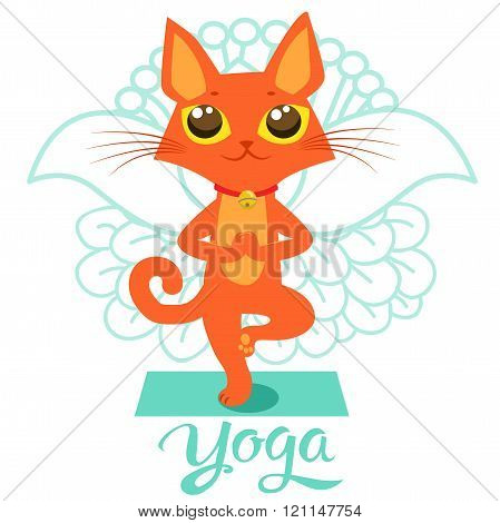 poster of Cartoon Funny Cat Icons Doing Yoga Position. Yoga Cat Pose. Yoga Cat Vector. Yoga Cat Meme. Yoga Cat Images. Yoga Cat Figurine. Cat As Toy. Yoga Cat Statue. Yoga Cat Balance And Meditation.