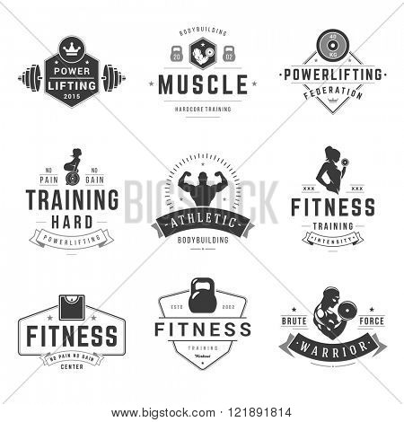 Fitness Logos Templates Set. Vector object and Icons for Sport Labels, Gym Badges, Health Logos Desi