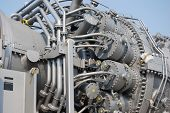 close up of turbine generator machinery