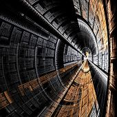 abstract resembling metal spaceship tunnel