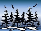 Abstract native northern winter scene with eagles and moose