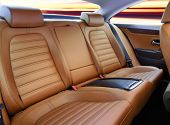 foto of seatbelt  - back passenger seats in modern luxury comfortable car - JPG