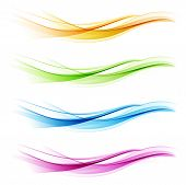 Set of abstract color wave poster