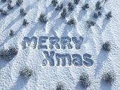 Frohe Weihnachten, Wörter auf Schnee