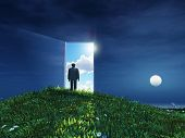 picture of single man  - man before open door to heaven - JPG