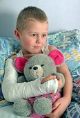 child with broken hand in plaster