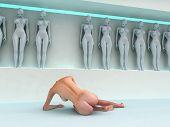 Frau Flucht aus human cloning factory