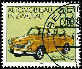 Vintage Postage Stamp. Old Car Trabant 601S - 1978.