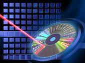 Laser de feixe escrita em uma ilustração de Cd ou Dvd. Digital.