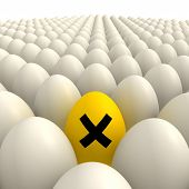 Field Of Eggs - One Yellow Irritant Sign Egg