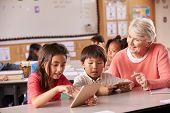 Senior teacher helping elementary school pupils using tablet poster