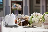 Beautiful flowers on table in wedding day. poster