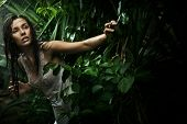 stock photo of beautiful brunette woman  - Sexy young brunette beauty in a rain forest - JPG