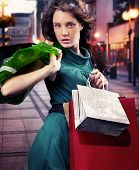 picture of milan  - Young woman with shopping bag - JPG
