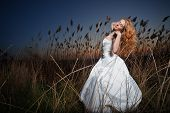 Bride wearing wedding dress posing in rush brushwood on sunset