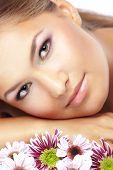 Постер, плакат: Портрет красивая девушка улыбается с здоровой кожи лица