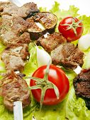 Grilled Meat  And Tomatos