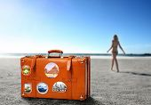suitcase on the beach