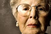 foto of old lady  - closeup of senior lady face - JPG