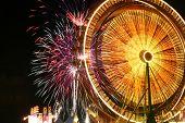 Ferris Wheel And Fireworks