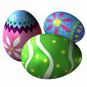 stock photo of easter-eggs  - 3 d computer render of easter eggs - JPG