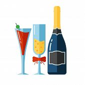 Постер, плакат: Vector Icon Of Alcohol Drinks And Glassess