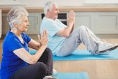 Senior couple performing yoga exercise at home poster
