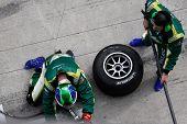Sepang, MALAYSIA - 23 November: Tire change for team Ireland at the pits at the World A1 GP championship races held in Malaysia. 23 November 2008 in Sepang International Circuit Malaysia.