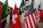 Sepang, MALAYSIA - 23 November: Flags of participating nations at the starting grid of the World A1 GP championship races. 23 November 2008 in Sepang International Circuit Malaysia.